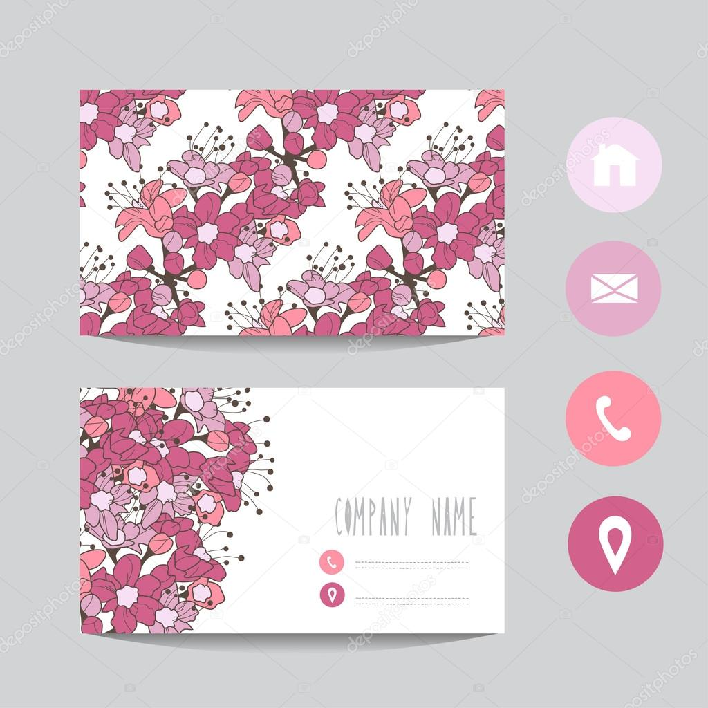 floral business card — Stock Vector © Chantall #91476292