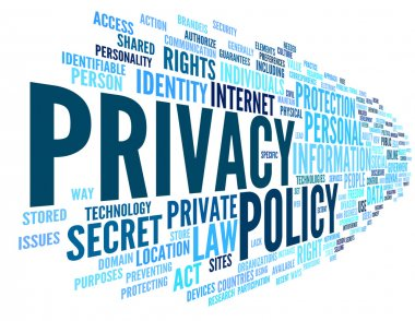 Privacy policy in word tag cloud