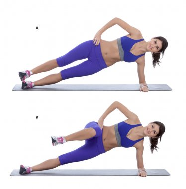 Side plank with a knee tuck