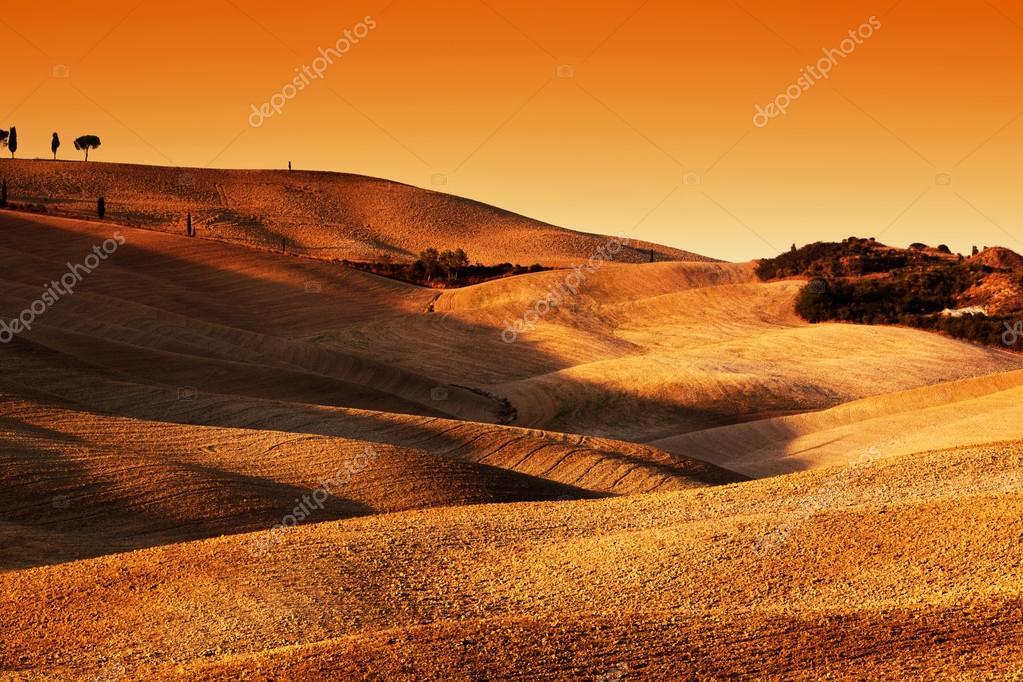 Фотообои Тоскана Италия пейзаж на закате