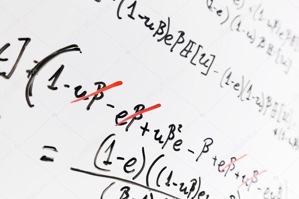Complex Of Math Formulas On Whiteboard Stock Photo Photocreo