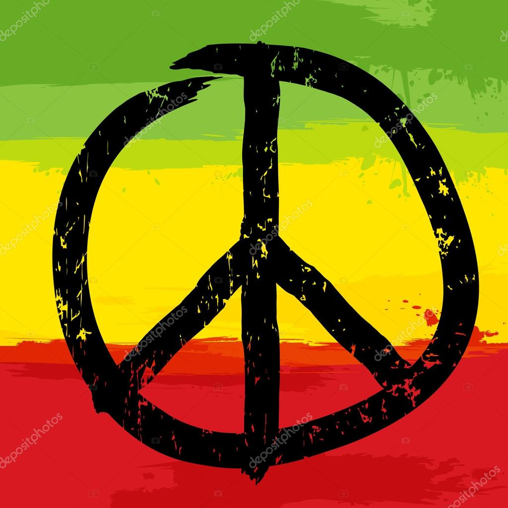 Peace Symbol And Rastafarian Colors In Background Vector Stock