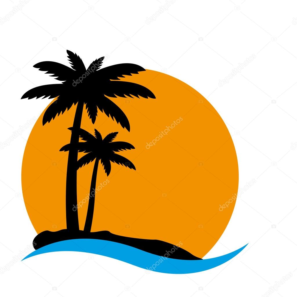 Sunset and palm trees on island
