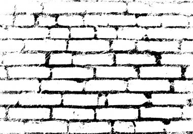 Old vintage brick wall. Background, pattern black and white. Vec