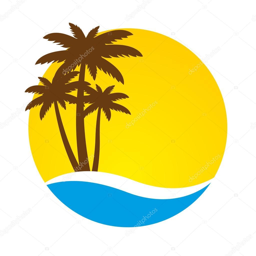 sunset and palm trees on island vector stock vector wawritto rh depositphotos com island victorian pendant light island victoria bank jamaica
