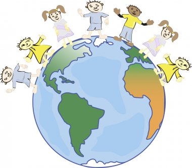 multicultural children on planet earth, cultural diversity, traditional folk costumes. Earth is my friend.