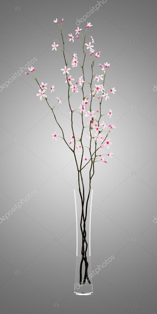 Flowering Tree Twigs In Glass Vase Isolated On Gray Background