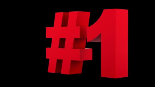 rote Nummer eins Schleife drehen auf schwarzem Hintergrund