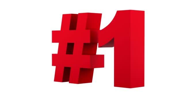 rote Zahl eins Schleife drehen auf weißem Hintergrund