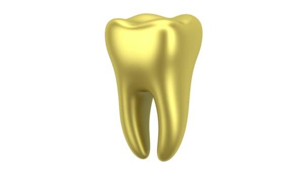 goldenen menschlichen Zahn Schleife drehen auf weißem Hintergrund