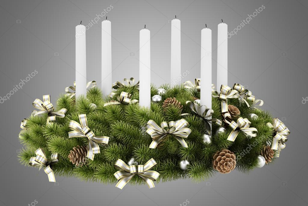 weihnachtskranz tisch dekoration mit kerzen die isoliert auf grau stockfoto tiler84 53454425. Black Bedroom Furniture Sets. Home Design Ideas