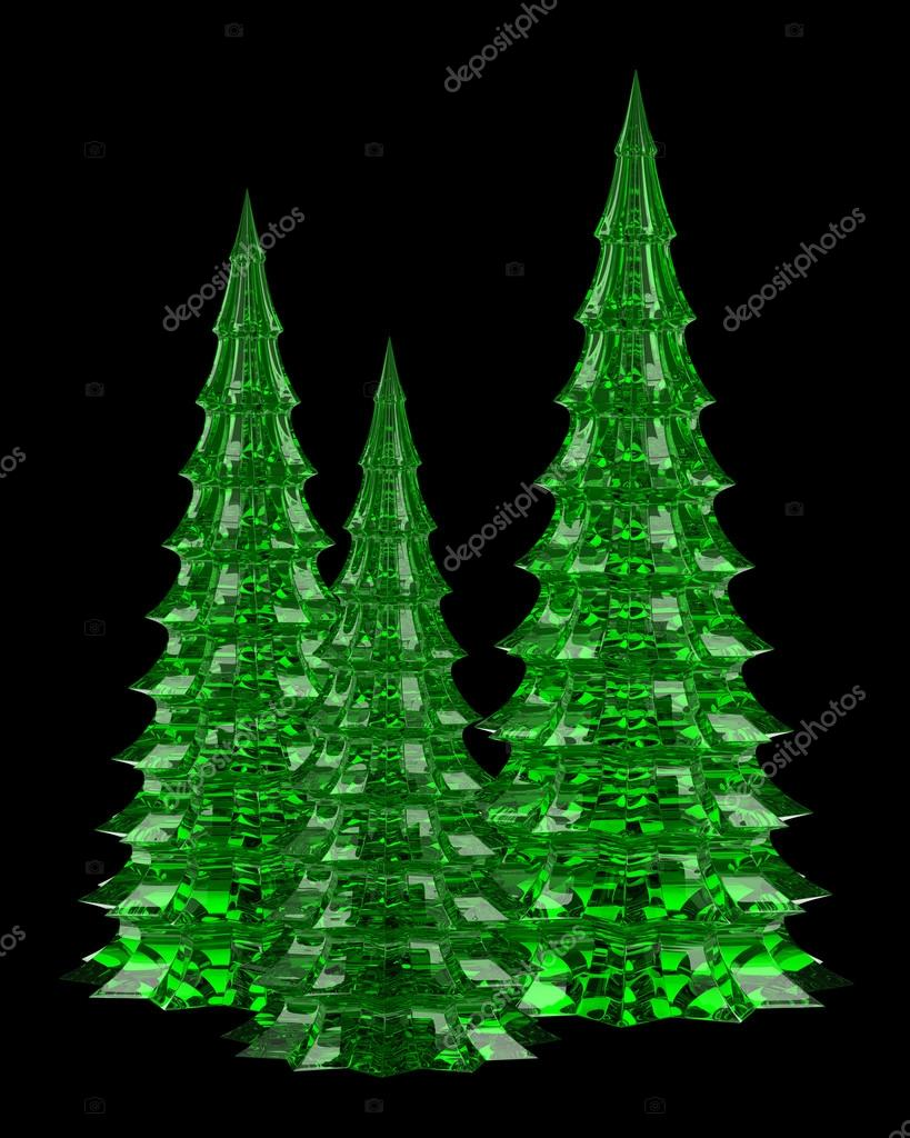 Three Glass Christmas Trees Table Decoration Isolated On Black B
