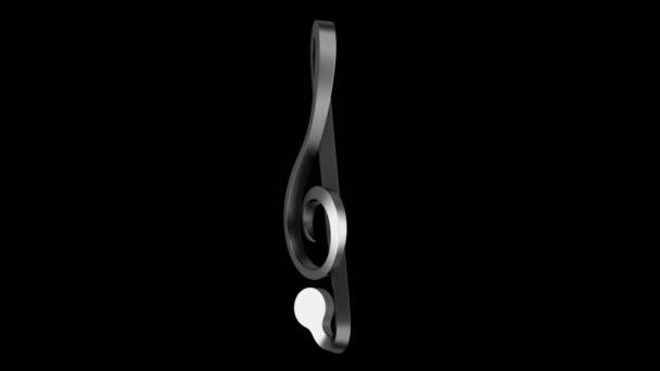 Metallische Violinschlüssel Schleife drehen auf schwarzem Hintergrund