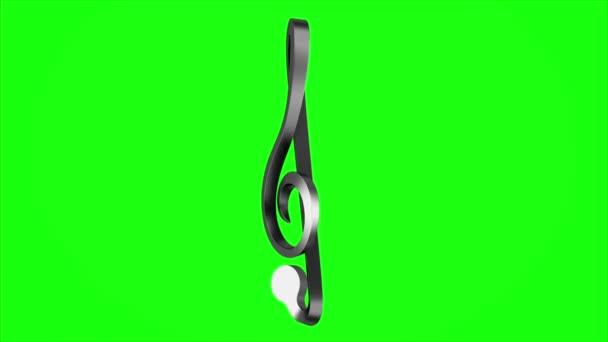 Metallische Violinschlüssel Schleife drehen auf grüne Chromakey-Hintergrund
