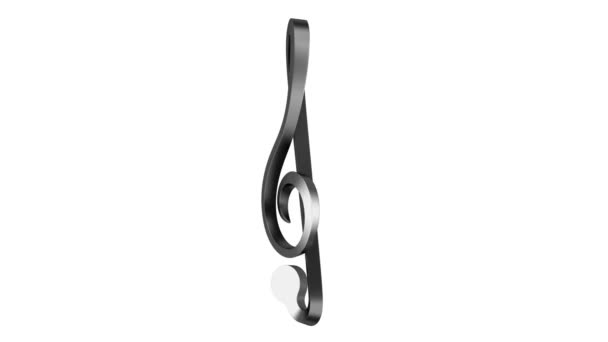 Metallic treble clef loop rotate on white background
