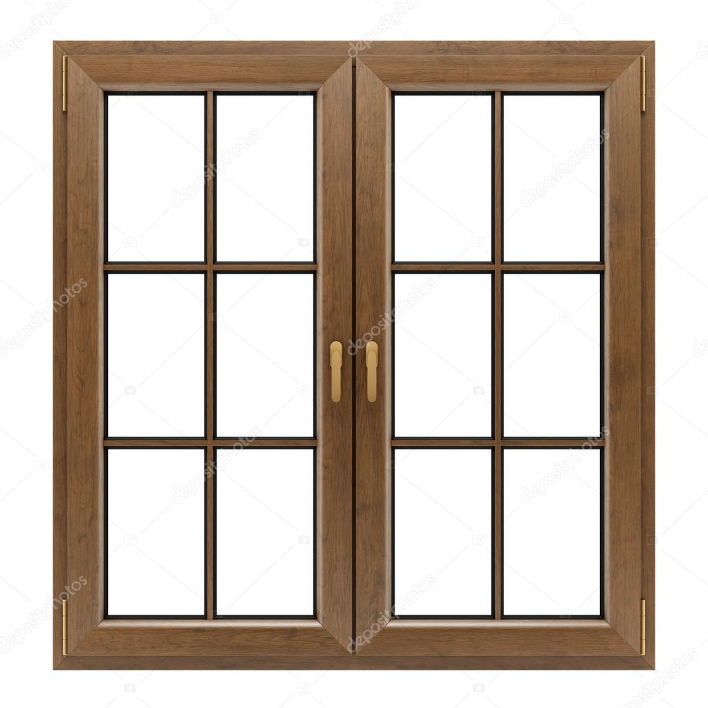 Ventana de madera marr n aislada sobre fondo blanco for Ventanas de aluminio con marco de madera