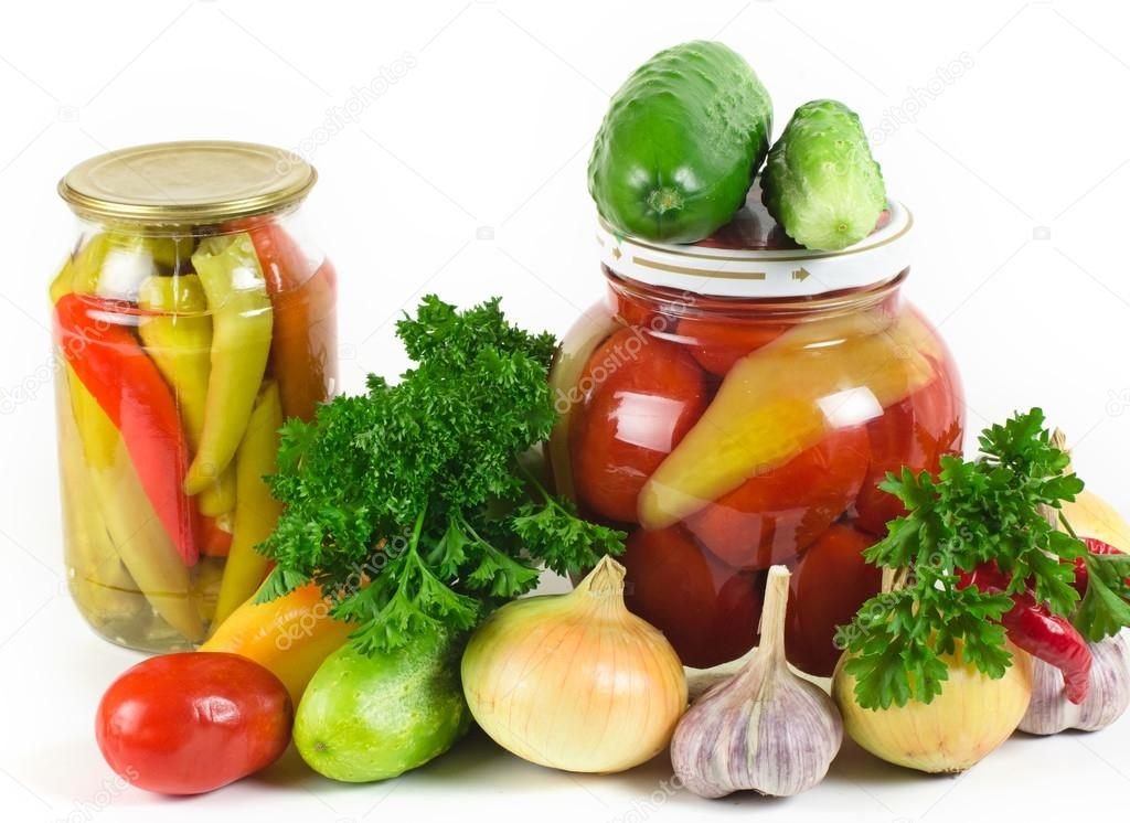 set of vegetables and banks of tinned vegetables