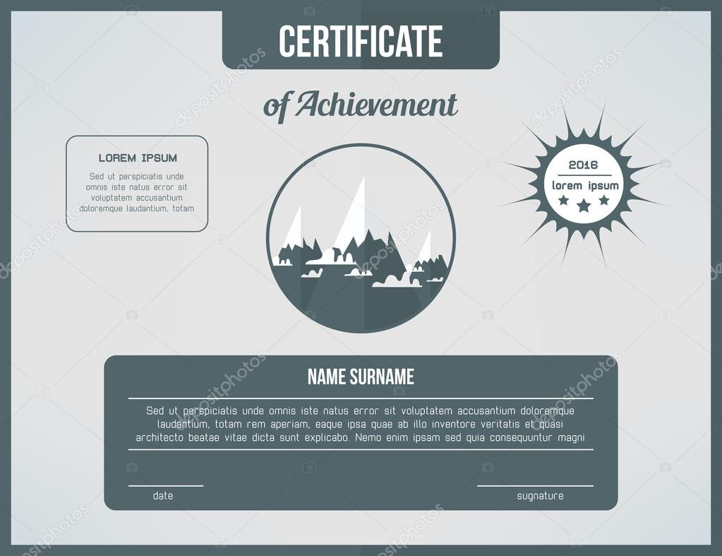 Certificate template for achievement. Gray certificate design with ...