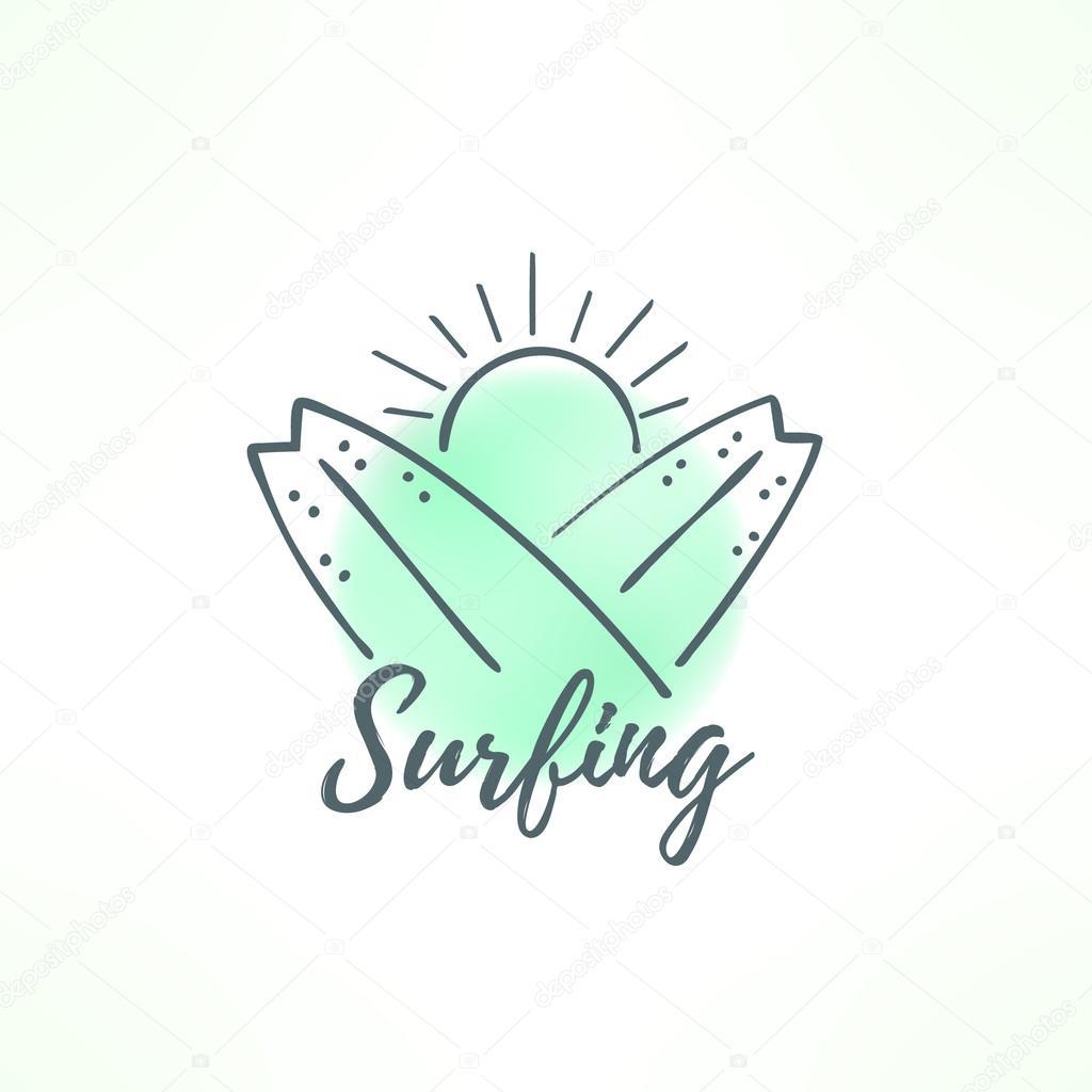 Logo de surf hecho diseño dibujado en la mano. Icono del surf con ...