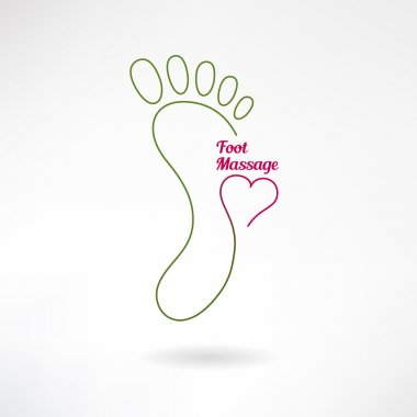 Massage sign and foot logo with heart. Vector