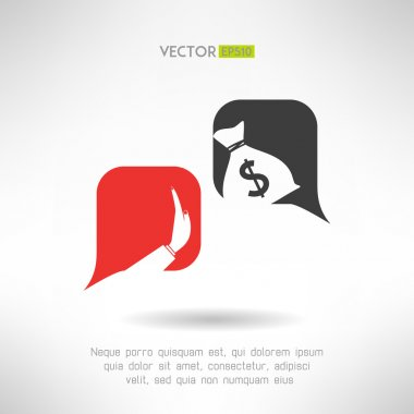 No bribe sign. Corruption dialogue with bubbles. Justice concept. Vector illustration
