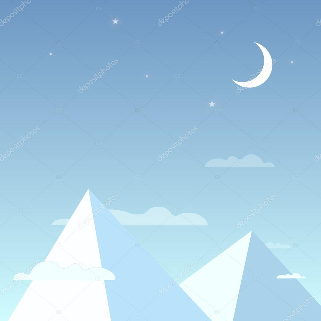 Mountains in the night sky in a simple light design. Mountain peaks with the clouds, bright stars and the moon. Vector illustration
