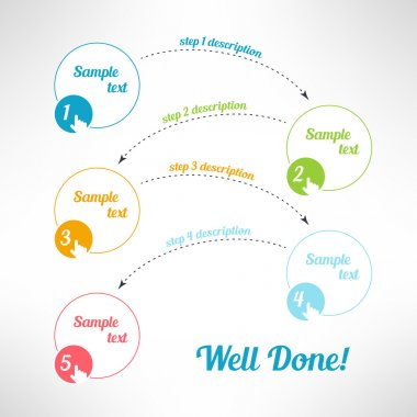 Vector business process steps infographic elements. Tutorial, instruction or presentation banners with pointing fingers