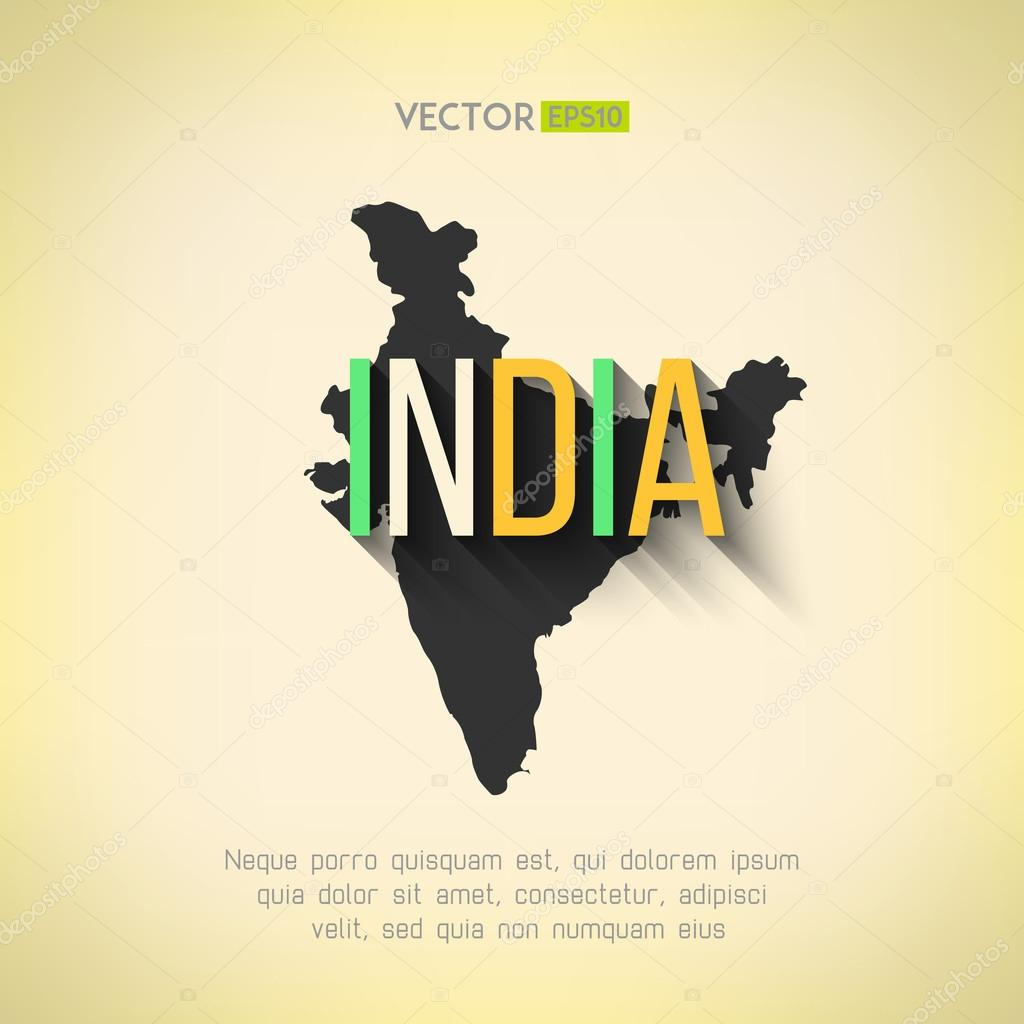 Indian border and country name with long shadow stock vector vector india map in flat design indian border and country name with long shadow vector by mikaelmiro gumiabroncs Images