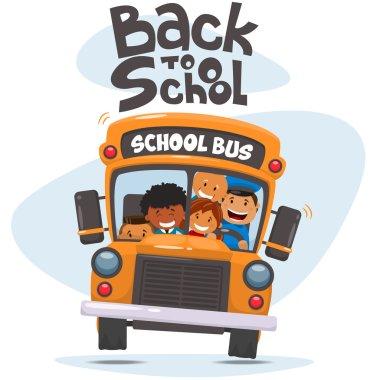 School bus and Happy Children.
