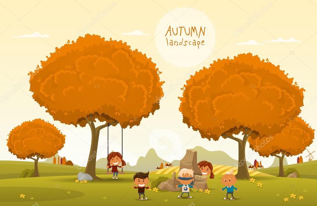 Cheerful children play outdoors