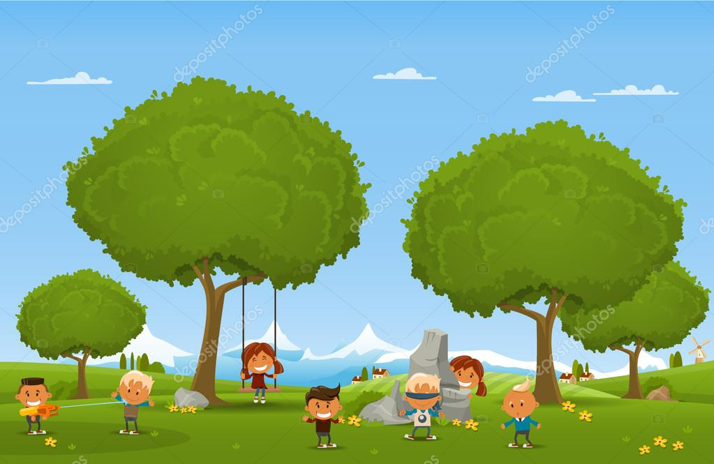 Children play outdoors
