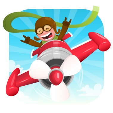 Cheerful pilot in red plane
