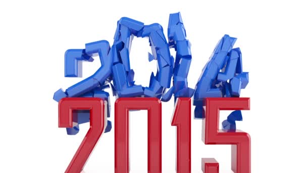 3d animation of red 2015 new year sign destroys 2014 new year sign. High definition 1080p animation
