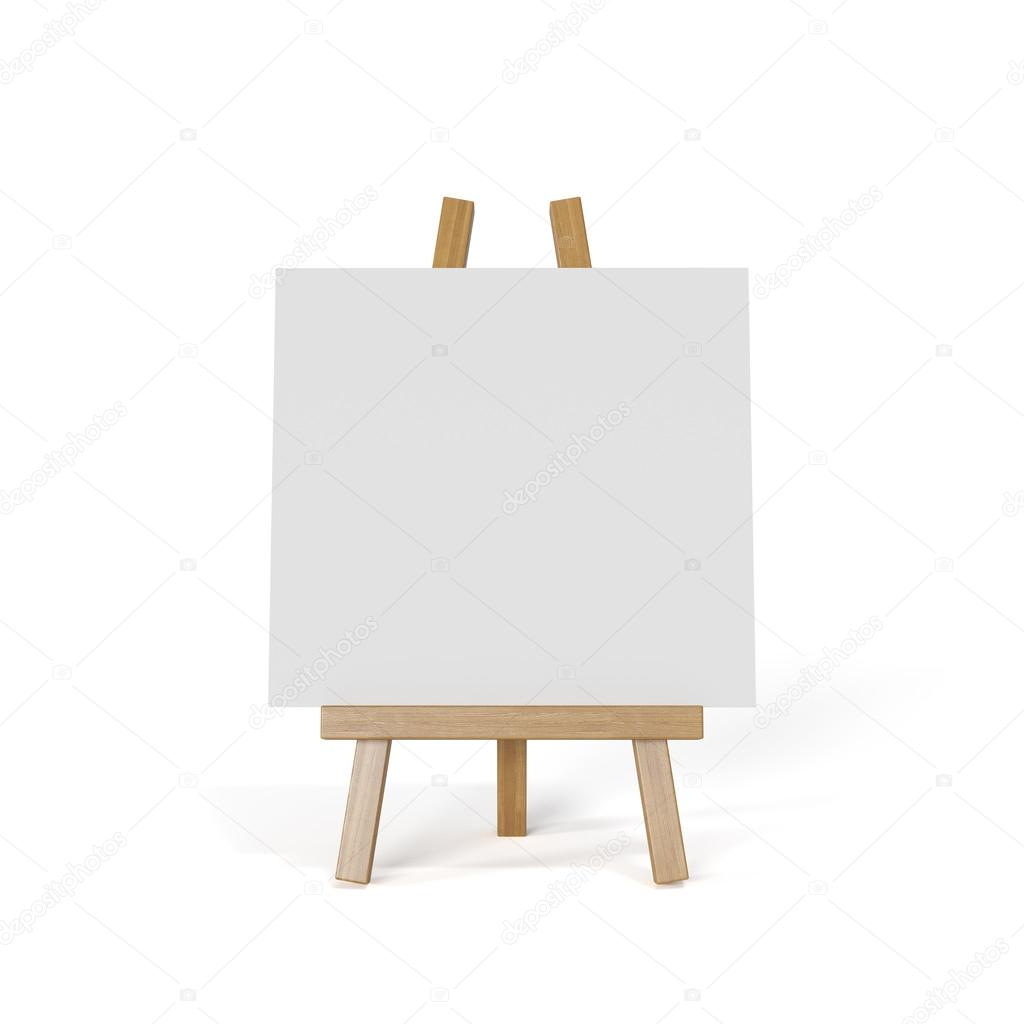 white canvas on an easel isolated on white background stock photo