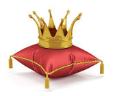 Photo Golden king crown on the red pillow