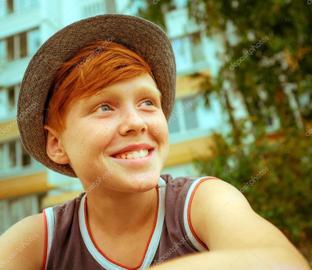 Ginger Red Hair Haired Boy Funny Face Stock Photo C Baburkina