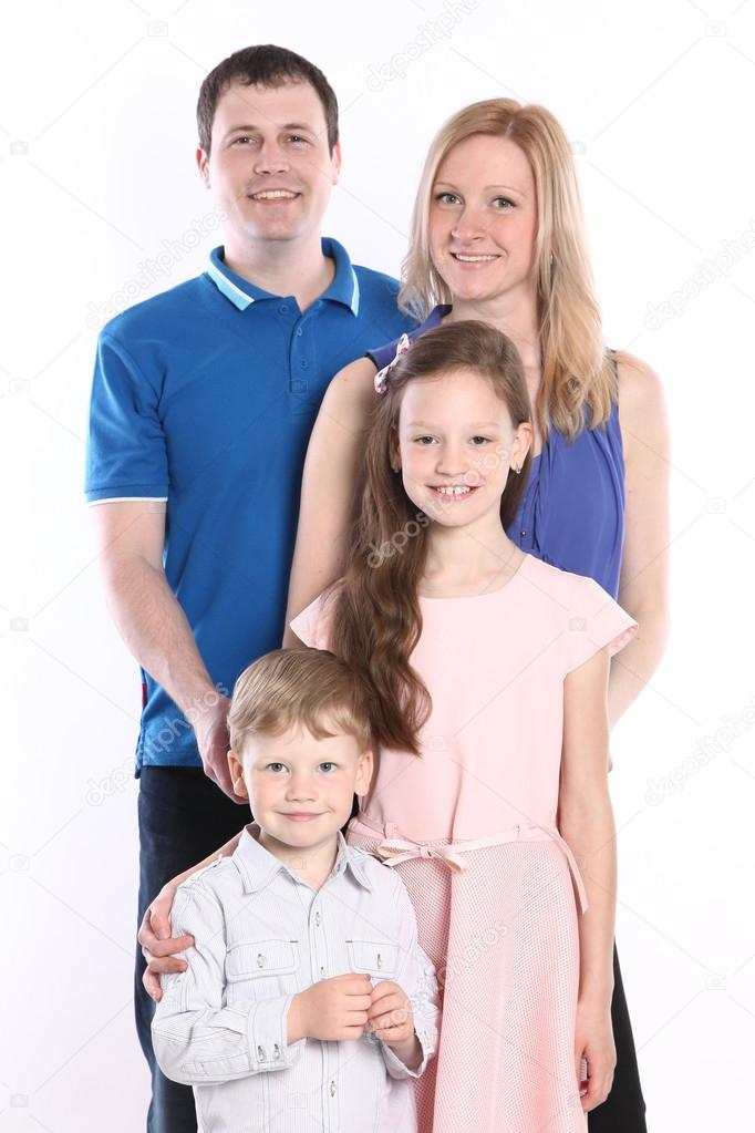 Cute young family on white stock vector