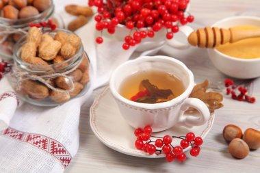 autumn tea on table