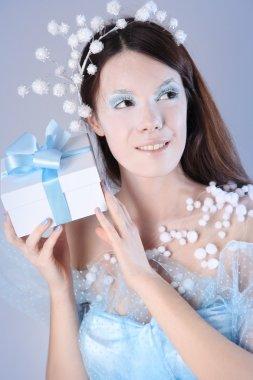 blue winter girl