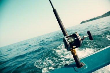 Fishing trolling tuna with a boat in the Andaman Sea, Thai