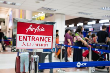 People of the company Air Asia in Phuket International Airport