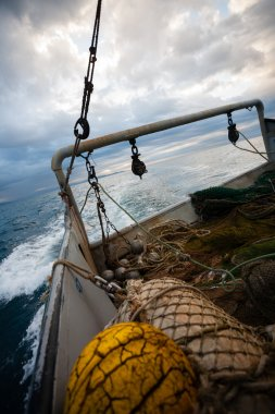 Fishing nets and rigging at the stern of a fishing vessel