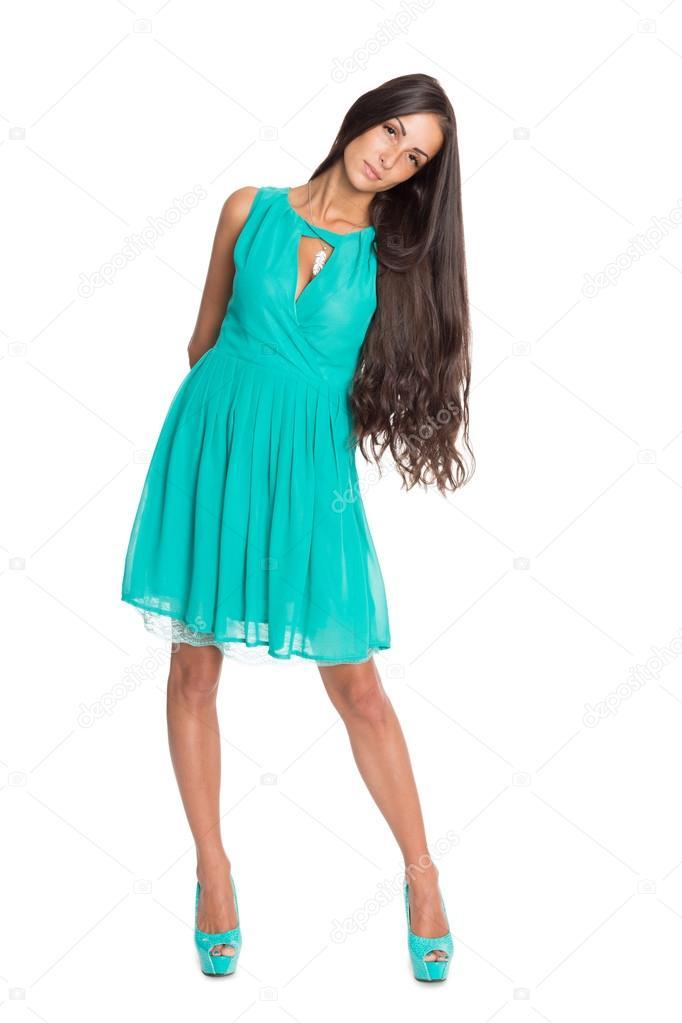 Fotos Vestidos Azul Turquesa Morena Encantadora En Un