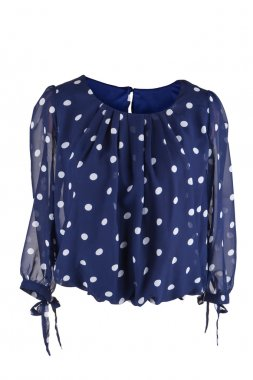 Female blouse with polka dots, isolated on white
