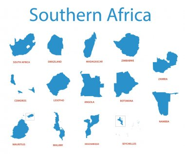 Southern africa - vector maps of territories