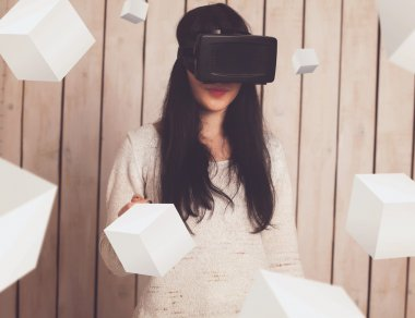 Woman in VR glasses