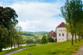 Starý hrad obklopený letní přírody