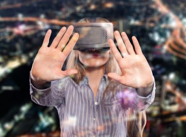 Woman in virtual reality headset