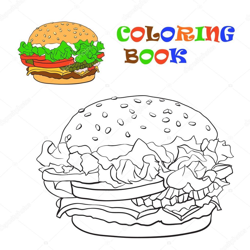 Hamburger Boyama Kitabı Vektör çizim Stok Vektör Bruce29