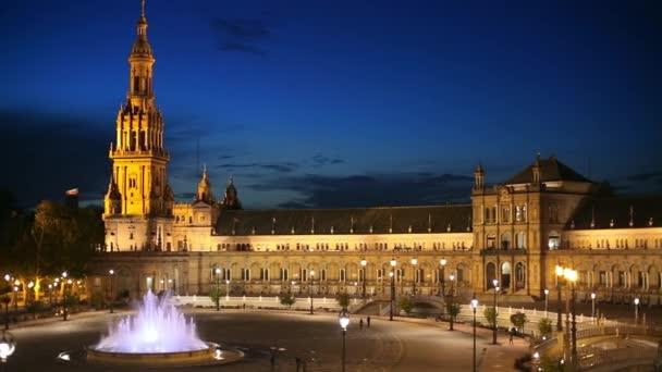 Night panning shot of Plaza de Espana in Seville, Spain